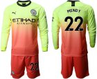 Cheap Manchester City #22 Mendy Third Long Sleeves Soccer Club Jersey