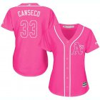Cheap Athletics #33 Jose Canseco Pink Fashion Women's Stitched MLB Jersey