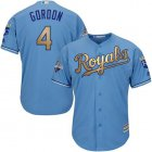 Cheap Royals #4 Alex Gordon Light Blue 2015 World Series Champions Gold Program Cool Base Stitched Youth MLB Jersey
