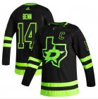 Cheap Dallas Stars #14 Jamie Benn Black Men's Adidas 2020-21 Reverse Retro Alternate NHL Jersey