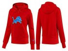 Cheap Women's Detroit Lions Logo Pullover Hoodie Red