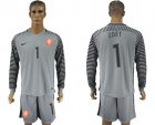 Cheap Holland #1 Zoet Grey Goalkeeper Long Sleeves Soccer Country Jersey