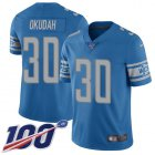 Cheap Nike Lions #30 Jeff Okudah Blue Team Color Youth Stitched NFL 100th Season Vapor Untouchable Limited Jersey