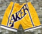 Cheap Men's Los Angeles Lakers Yellow Big Face Mitchell Ness Hardwood Classics Soul Swingman Throwback Shorts