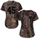 Cheap Phillies #45 Zack Wheeler Camo Realtree Collection Cool Base Women's Stitched MLB Jersey