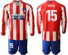 Cheap Atletico Madrid #15 Savic Home Long Sleeves Soccer Club Jersey