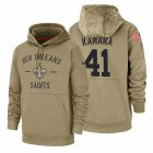 Cheap New Orleans Saints #41 Alvin Kamara Nike Tan 2019 Salute To Service Name & Number Sideline Therma Pullover Hoodie