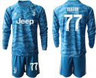 Cheap Juventus #77 Buffon Blue Goalkeeper Long Sleeves Soccer Club Jersey