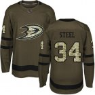 Cheap Adidas Ducks #34 Sam Steel Green Salute to Service Youth Stitched NHL Jersey