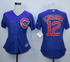 Cheap Cubs #12 Kyle Schwarber Blue Alternate Women's Stitched MLB Jersey