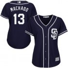 Cheap Padres #13 Manny Machado Navy Blue Alternate Women's Stitched MLB Jersey