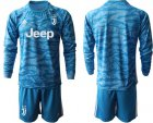Cheap Juventus Blank Blue Goalkeeper Long Sleeves Soccer Club Jersey