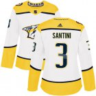 Cheap Adidas Predators #3 Steven Santini White Road Authentic Women's Stitched NHL Jersey