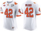 Cheap Men's Clemson Tigers #42 Christian Wilkins White 2017 Championship Game Patch Stitched CFP Nike Limited Jersey
