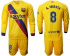 Cheap Barcelona #8 A.Iniesta Away Long Sleeves Soccer Club Jersey