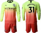 Cheap Manchester City #31 Ederson M. Third Long Sleeves Soccer Club Jersey