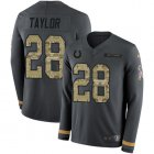 Cheap Nike Colts #28 Jonathan Taylor Anthracite Salute to Service Youth Stitched NFL Limited Therma Long Sleeve Jersey