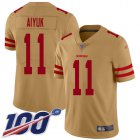 Cheap Nike 49ers #11 Brandon Aiyuk Gold Youth Stitched NFL Limited Inverted Legend 100th Season Jersey