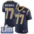 Cheap Nike Rams #77 Andrew Whitworth Navy Blue Team Color Super Bowl LIII Bound Men's Stitched NFL Vapor Untouchable Limited Jersey