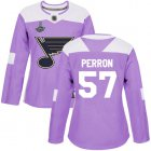 Cheap Adidas Blues #57 David Perron Purple Authentic Fights Cancer Stanley Cup Champions Women's Stitched NHL Jersey
