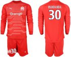 Cheap Marseille #30 Mandanda Red Goalkeeper Long Sleeves Soccer Club Jersey