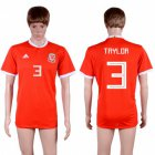 Cheap Wales #3 Taylor Red Home Soccer Club Jersey