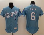 Cheap Royals #6 Lorenzo Cain Light Blue Flexbase Authentic Collection Stitched Baseball Jersey
