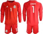 Cheap Mexico #1 Corona Red Long Sleeves Goalkeeper Soccer Country Jersey