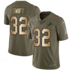 Cheap Nike Lions #32 D'Andre Swift Olive/Gold Men's Stitched NFL Limited 2017 Salute To Service Jersey