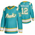 Cheap San Jose Sharks #12 Patrick Marleau Men's Adidas 2020 Throwback Authentic Player NHL Jersey Teal