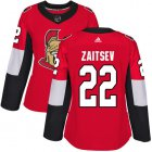 Cheap Adidas Senators #22 Nikita Zaitsev Red Home Authentic Women's Stitched NHL Jersey