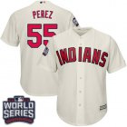 Cheap Indians #55 Roberto Perez Cream Alternate 2016 World Series Bound Stitched Youth MLB Jersey