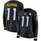 Cheap Nike Steelers #11 Chase Claypool Black Team Color Women's Stitched NFL Limited Therma Long Sleeve Jersey