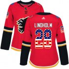 Cheap Adidas Flames #28 Elias Lindholm Red Home Authentic USA Flag Women's Stitched NHL Jersey