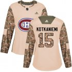 Cheap Adidas Canadiens #15 Jesperi Kotkaniemi Camo Authentic 2017 Veterans Day Women's Stitched NHL Jersey