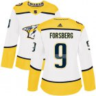 Cheap Adidas Predators #9 Filip Forsberg White Road Authentic Women's Stitched NHL Jersey
