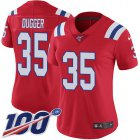 Cheap Nike Patriots #35 Kyle Dugger Red Alternate Women's Stitched NFL 100th Season Vapor Untouchable Limited Jersey