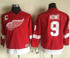 Cheap Red Wings #9 Gordie Howe Red CCM Throwback Stitched Youth NHL Jersey