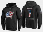 Cheap Blue Jackets #7 Jack Johnson NHL Banner Wave Usa Flag Black Hoodie