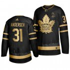 Cheap Adidas Maple Leafs #31 Frederik Andersen Men's 2019 Black Golden Edition OVO Branded Stitched NHL Jersey