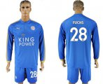 Cheap Leicester City #28 Fuchs Home Long Sleeves Soccer Club Jersey
