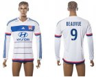Cheap Lyon #9 Beauvue Home Long Sleeves Soccer Club Jersey