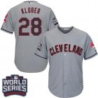 Cheap Indians #28 Corey Kluber Grey Road 2016 World Series Bound Stitched Youth MLB Jersey