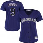 Cheap Rockies #9 Daniel Murphy Purple Alternate Women's Stitched MLB Jersey