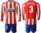 Cheap Atletico Madrid #3 Filipe Luis Home Long Sleeves Soccer Club Jersey