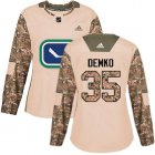 Cheap Adidas Canucks #35 Thatcher Demko Camo Authentic 2017 Veterans Day Women's Stitched NHL Jersey