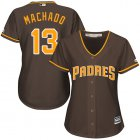 Cheap Padres #13 Manny Machado Brown Alternate Women's Stitched MLB Jersey