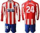 Cheap Atletico Madrid #24 J.M.Gimenez Home Long Sleeves Soccer Club Jersey