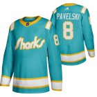 Cheap San Jose Sharks #8 Joe Pavelski Men's Adidas 2020 Throwback Authentic Player NHL Jersey Teal
