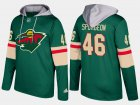 Cheap Wild #46 Jared Spurgeon Green Name And Number Hoodie
